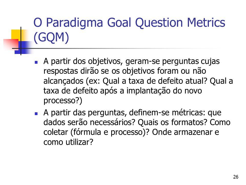 26 O Paradigma Goal Question Metrics (GQM) A partir dos objetivos, geram-se perguntas cujas respostas dirão se os objetivos foram ou não alcançados (e