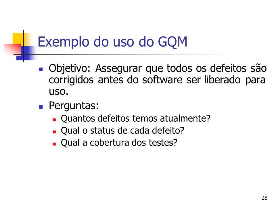 28 Exemplo do uso do GQM Objetivo: Assegurar que todos os defeitos são corrigidos antes do software ser liberado para uso. Perguntas: Quantos defeitos