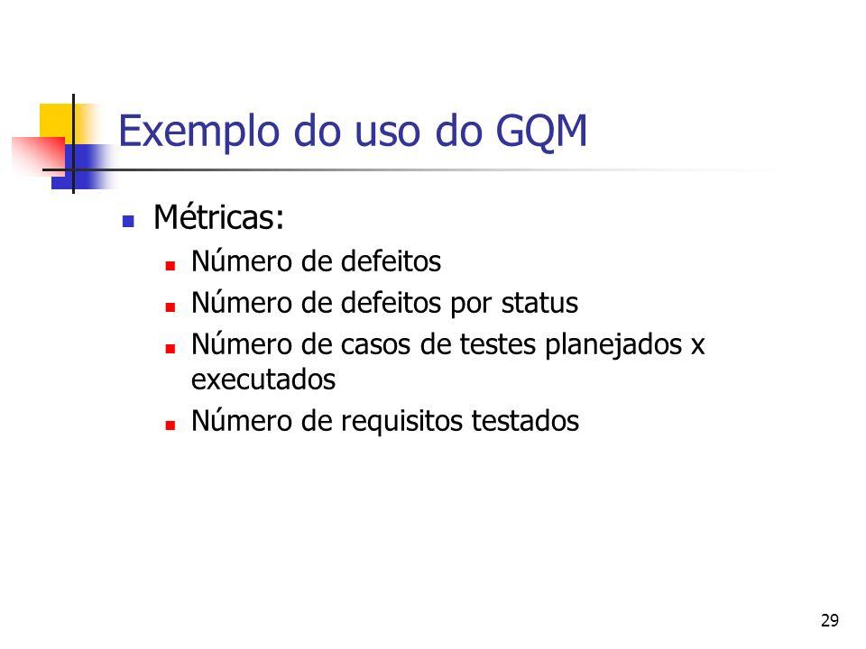 29 Exemplo do uso do GQM Métricas: Número de defeitos Número de defeitos por status Número de casos de testes planejados x executados Número de requis