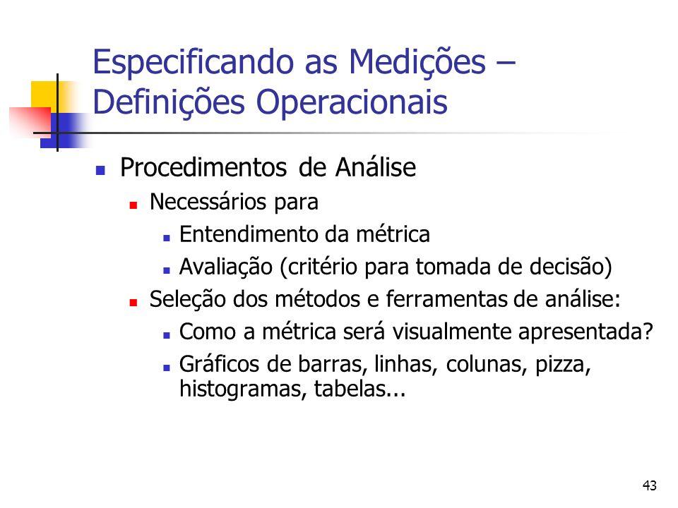 43 Especificando as Medições – Definições Operacionais Procedimentos de Análise Necessários para Entendimento da métrica Avaliação (critério para toma