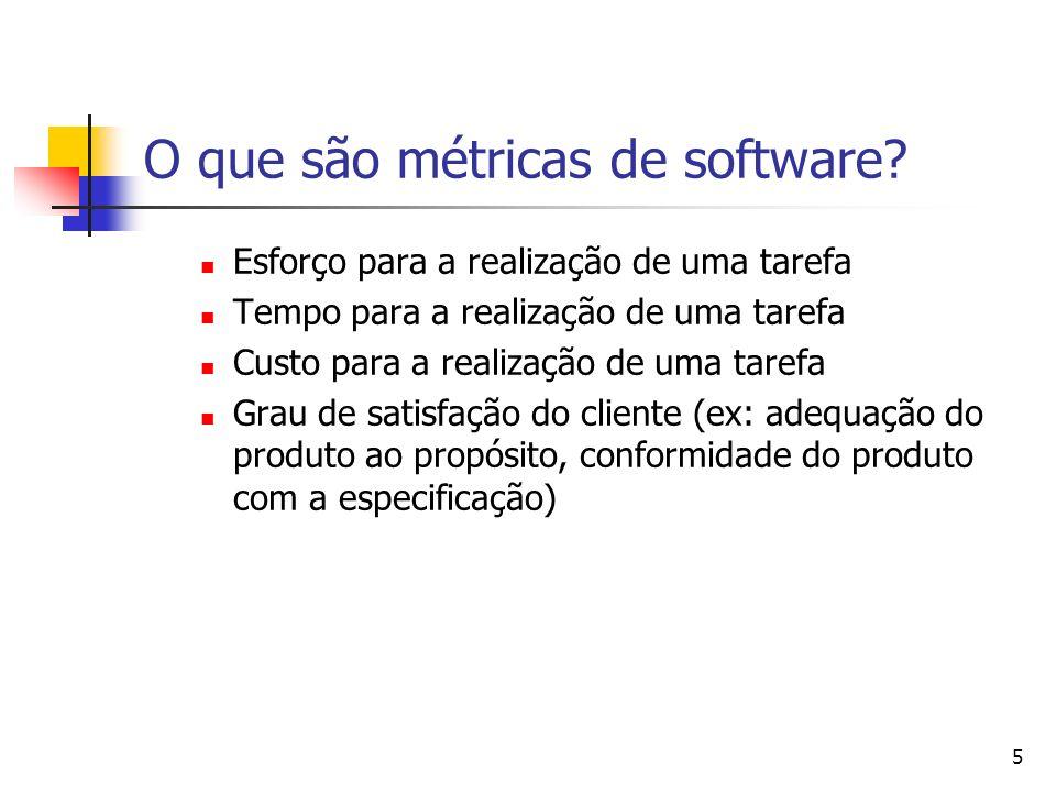 5 O que são métricas de software? Esforço para a realização de uma tarefa Tempo para a realização de uma tarefa Custo para a realização de uma tarefa