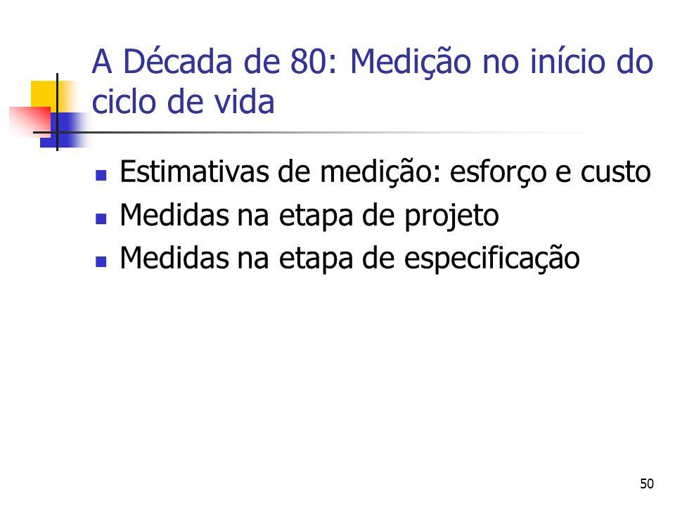 50 A Década de 80: Medição no início do ciclo de vida Estimativas de medição: esforço e custo Medidas na etapa de projeto Medidas na etapa de especifi