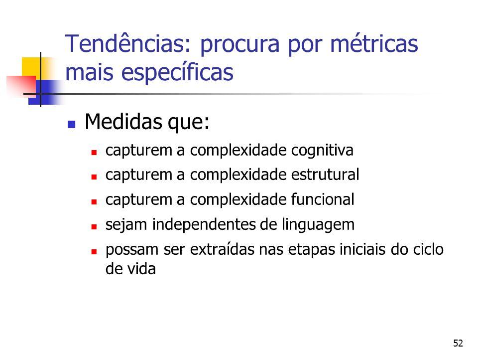 52 Tendências: procura por métricas mais específicas Medidas que: capturem a complexidade cognitiva capturem a complexidade estrutural capturem a comp