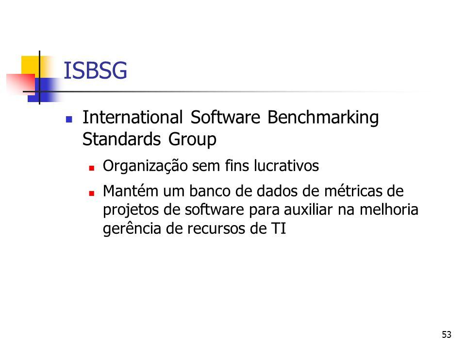 53 ISBSG International Software Benchmarking Standards Group Organização sem fins lucrativos Mantém um banco de dados de métricas de projetos de softw
