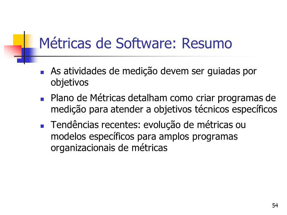 54 Métricas de Software: Resumo As atividades de medição devem ser guiadas por objetivos Plano de Métricas detalham como criar programas de medição pa