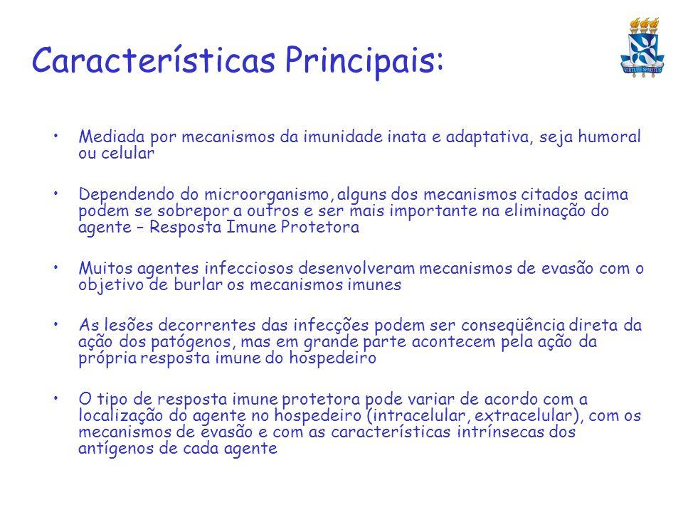Características Principais: Mediada por mecanismos da imunidade inata e adaptativa, seja humoral ou celular Dependendo do microorganismo, alguns dos m