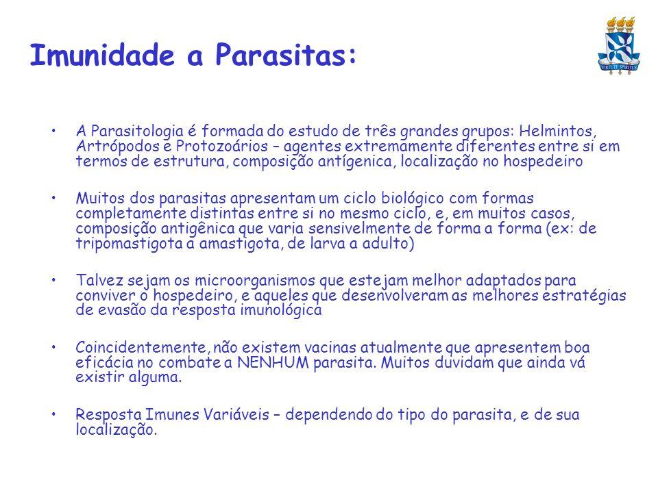 Imunidade a Parasitas: A Parasitologia é formada do estudo de três grandes grupos: Helmintos, Artrópodos e Protozoários – agentes extremamente diferen