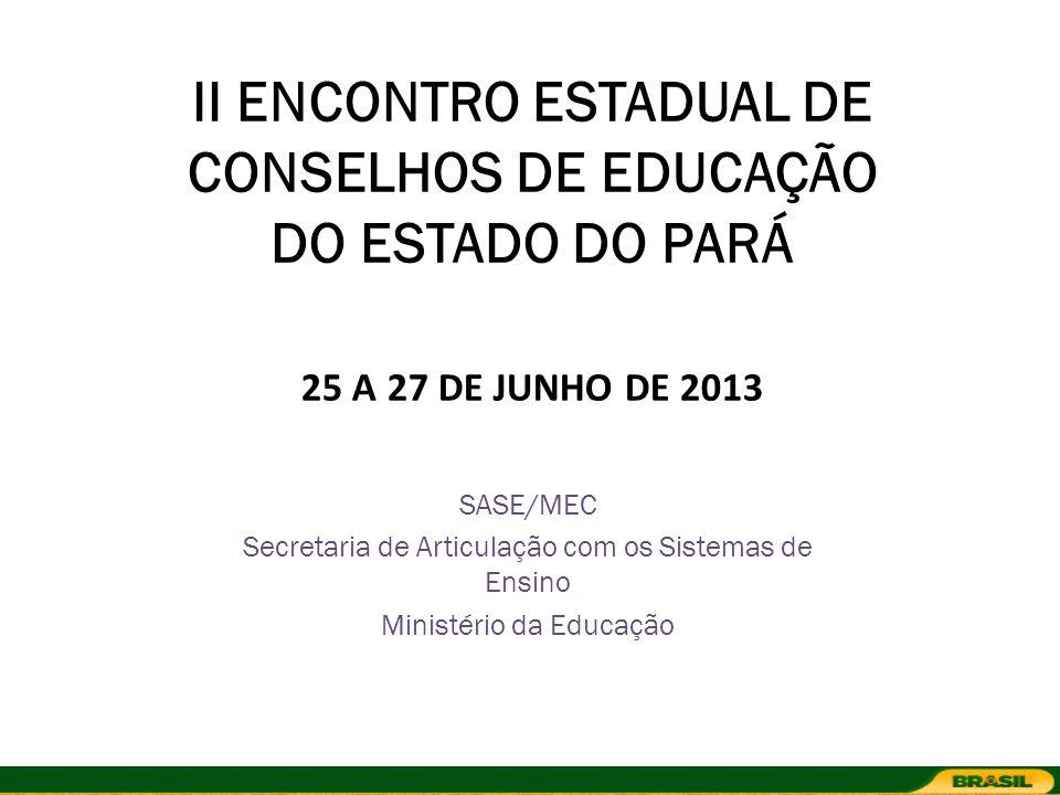 II ENCONTRO ESTADUAL DE CONSELHOS DE EDUCAÇÃO DO ESTADO DO PARÁ 25 A 27 DE JUNHO DE 2013 SASE/MEC Secretaria de Articulação com os Sistemas de Ensino