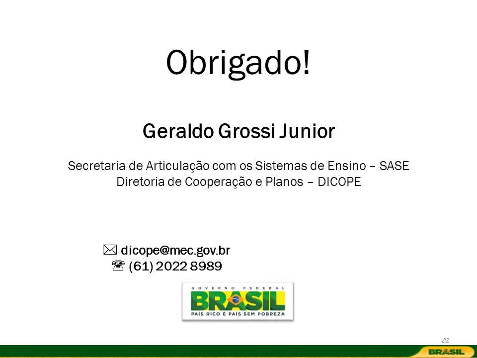 Obrigado! Geraldo Grossi Junior Secretaria de Articulação com os Sistemas de Ensino – SASE Diretoria de Cooperação e Planos – DICOPE dicope@mec.gov.br