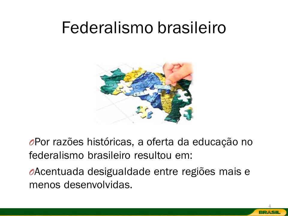 Federalismo brasileiro O Por razões históricas, a oferta da educação no federalismo brasileiro resultou em: O Acentuada desigualdade entre regiões mai