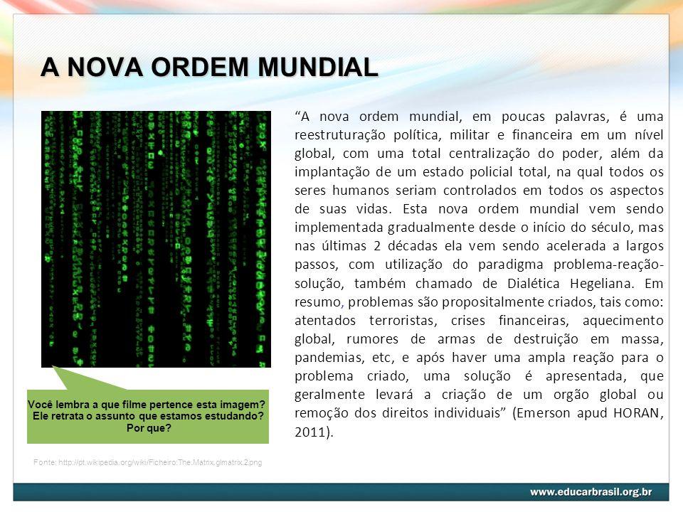 A NOVA ORDEM MUNDIAL A nova ordem mundial, em poucas palavras, é uma reestruturação política, militar e financeira em um nível global, com uma total c