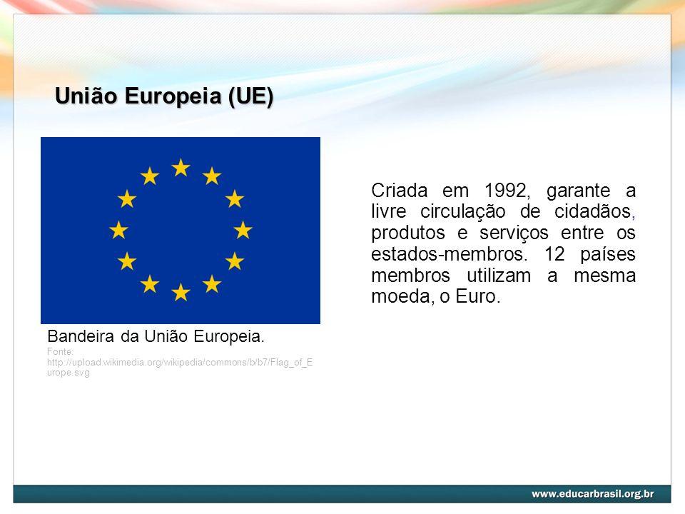 União Europeia (UE) Bandeira da União Europeia. Fonte: http://upload.wikimedia.org/wikipedia/commons/b/b7/Flag_of_E urope.svg Criada em 1992, garante