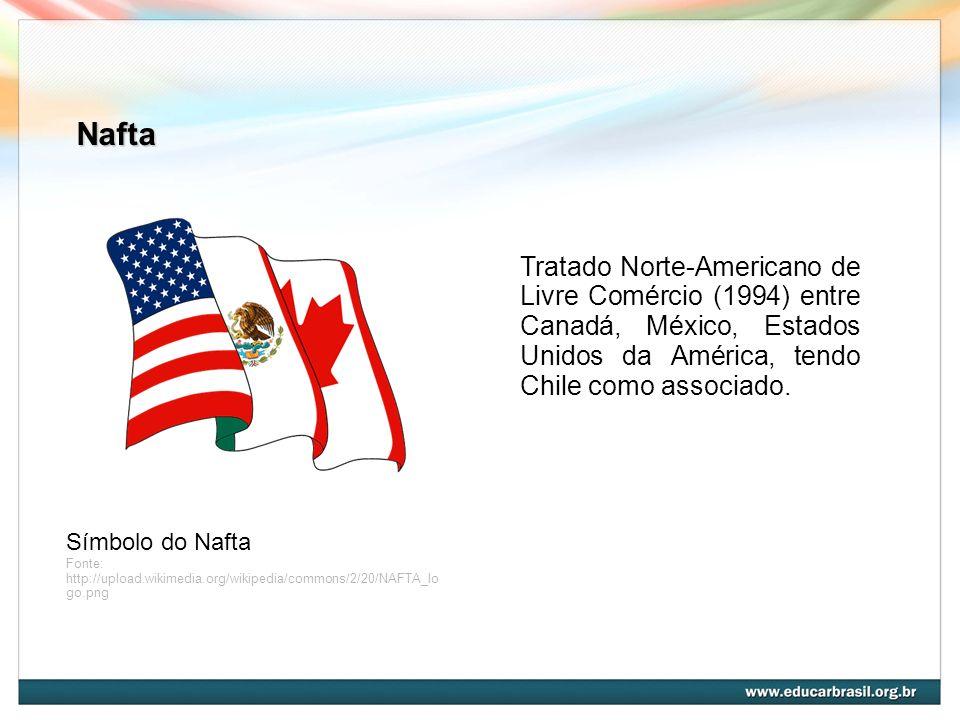 Nafta Símbolo do Nafta Fonte: http://upload.wikimedia.org/wikipedia/commons/2/20/NAFTA_lo go.png Tratado Norte-Americano de Livre Comércio (1994) entr