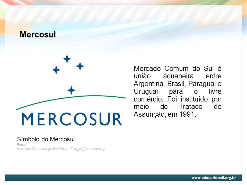 Mercosul Símbolo do Mercosul Fonte: http://pt.wikipedia.org/wiki/Ficheiro:Flag_of_Mercosur.svg Mercado Comum do Sul é união aduaneira entre Argentina,