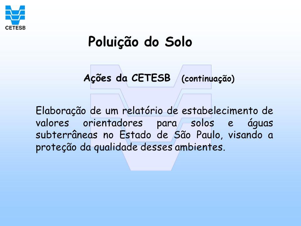 Poluição do Solo Ações da CETESB (continuação) Elaboração de um relatório de estabelecimento de valores orientadores para solos e águas subterrâneas n
