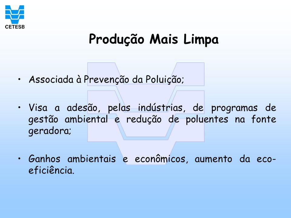 Produção Mais Limpa Associada à Prevenção da Poluição; Visa a adesão, pelas indústrias, de programas de gestão ambiental e redução de poluentes na fon
