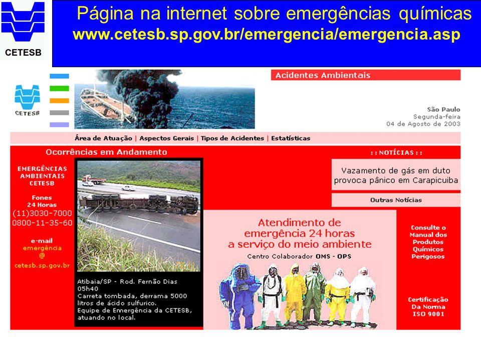 Página na internet sobre emergências químicas www.cetesb.sp.gov.br/emergencia/emergencia.asp