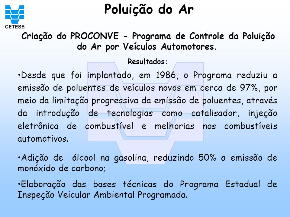 Poluição do Ar Criação do PROCONVE - Programa de Controle da Poluição do Ar por Veículos Automotores. Resultados: Desde que foi implantado, em 1986, o