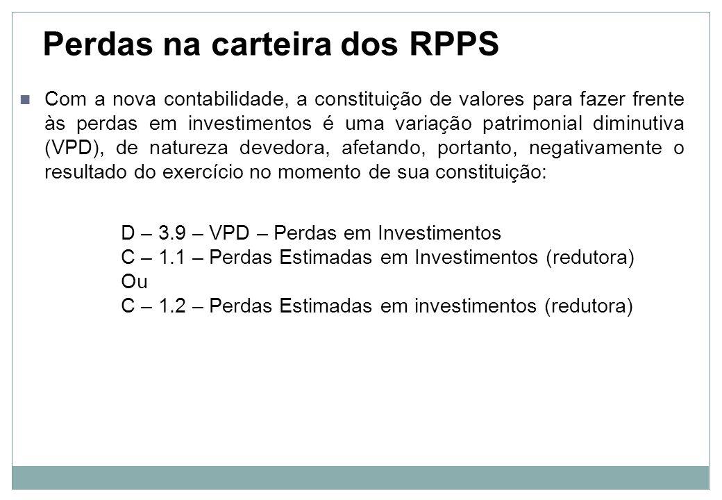 Evidenciação após a constituição de valores para perdas em investimentos No Balanço Patrimonial: Carteira de Investimentos dos RPPS (-) Perdas Estimadas em Investimentos Na Demonstração das Variações Patrimoniais: VPD – Perdas em Investimentos (-)