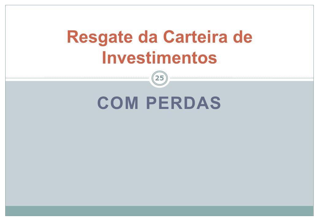 26 Exemplo: investimento adquirido a $ 100 e vendido por $ 80, sem provisão: D – 1.1 – Bancos RPPS – 80 D – Receita Realizada – 80 D – 3.6 – VPD – Perdas – 20 C – Receita a Realizar – 80 C – 1.1 – Investimentos RPPS – 100 Exemplo: investimento adquirido a $ 100 e vendido por $ 80, com provisão: D – 1.1 – Perdas Estimadas (Redutora) – 20 C – 1.1 – Investimentos RPPS – 20 D – 1.1 – Bancos RPPS – 80 C – Receita Realizada – 80 C – 1.1 – Investimentos RPPS – 80 C – Receita a Realizar – 80