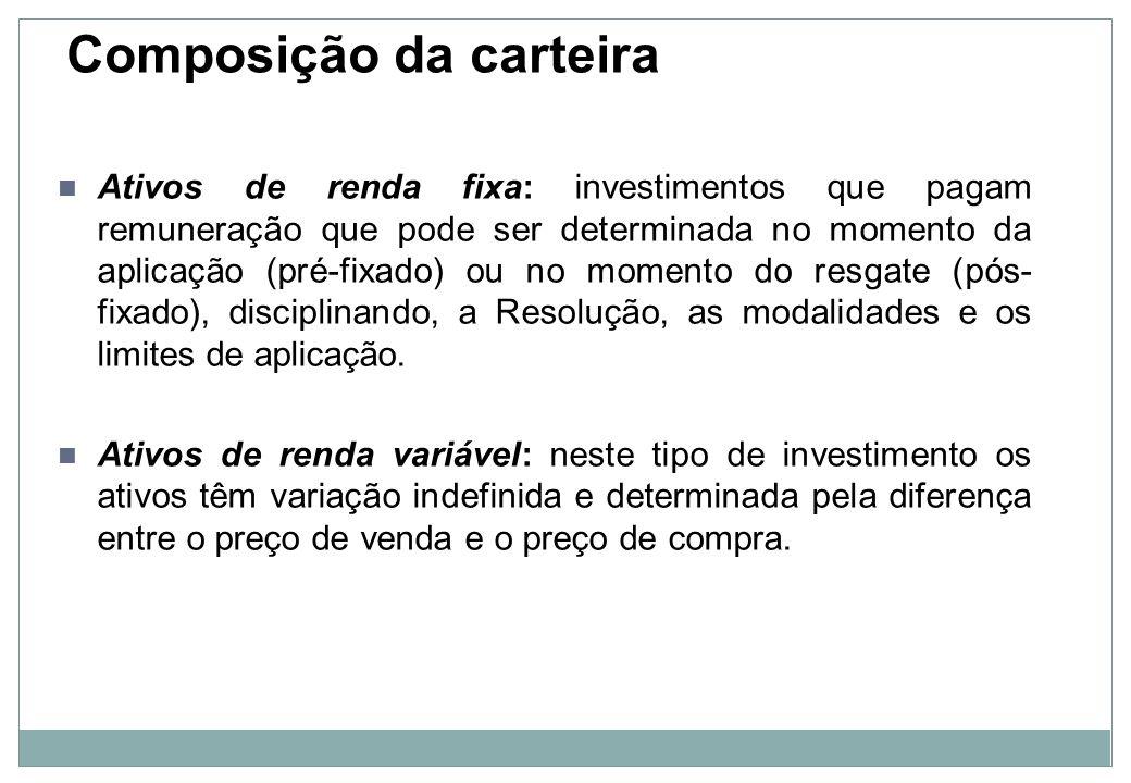 Composição da carteira Investimentos em segmento de imóveis: foi aberta a possibilidade de os RPPS fazerem suas aplicações em quotas de fundos de investimentos imobiliários, mas essa possibilidade só é aceita no caso da integralização das quotas dos referidos fundos com terrenos ou outros imóveis.