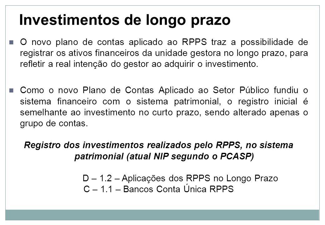 Imóveis recebidos em dação Os empréstimos e os imóveis vinculados ao RPPS com finalidade previdenciária, recebidos em dação em pagamento, recebem tratamento diferenciado, pois representam acréscimo patrimonial, devendo passar pelo resultado do exercício: Registro incorporação do imóvel à carteira de investimentos do RPPS, no sistema patrimonial (atual NIP segundo o PCASP) D – 1.2 – Imóveis C – 4.5 – VPA – Transferências Recebidas