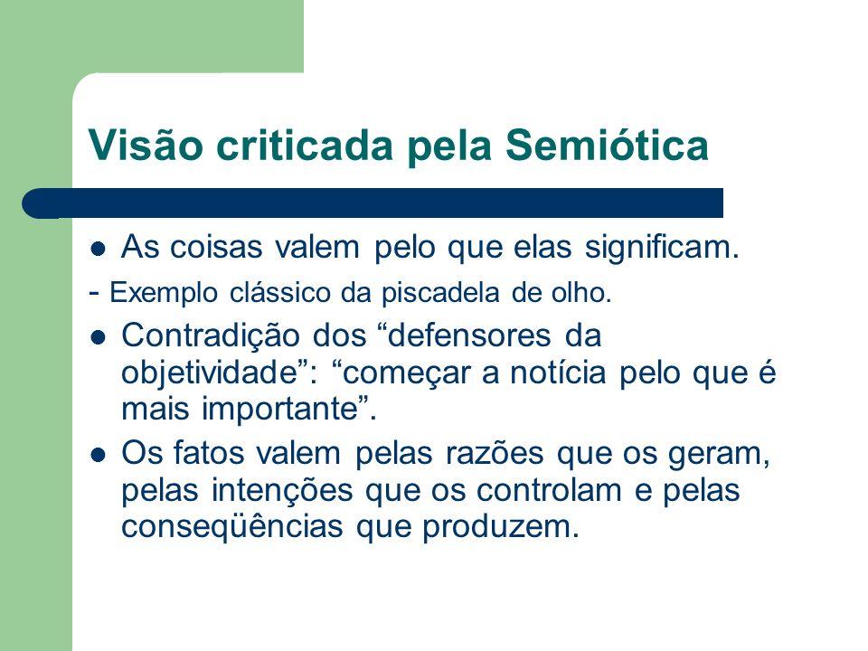 Visão criticada pela Semiótica As coisas valem pelo que elas significam. - Exemplo clássico da piscadela de olho. Contradição dos defensores da objeti