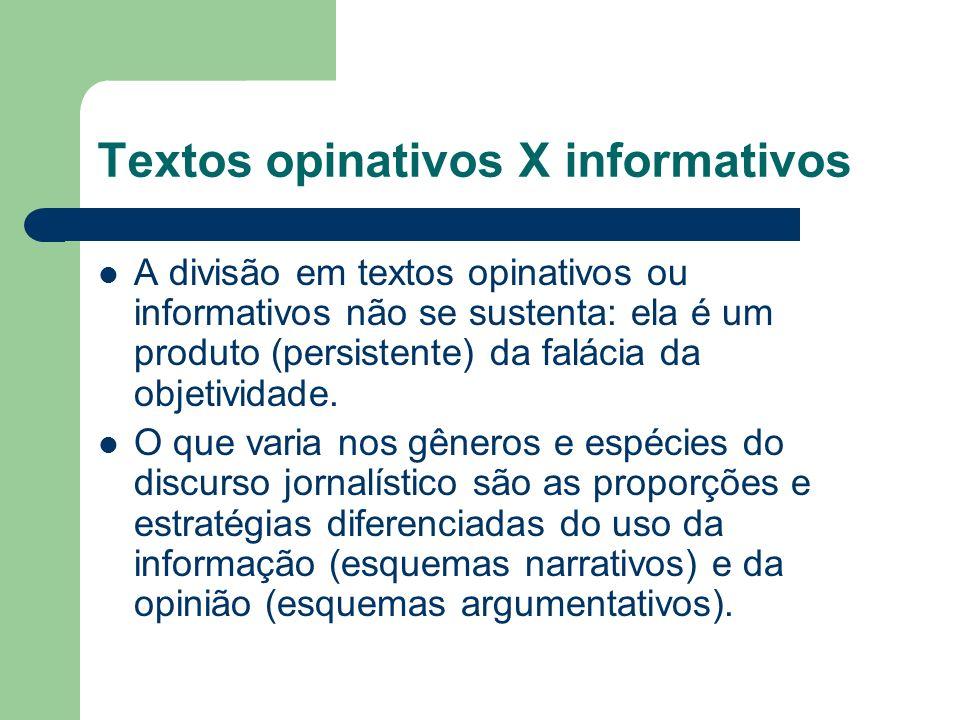 Textos opinativos X informativos A divisão em textos opinativos ou informativos não se sustenta: ela é um produto (persistente) da falácia da objetivi