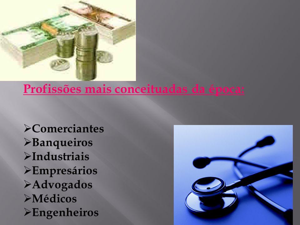 Profissões mais conceituadas da época: Comerciantes Banqueiros Industriais Empresários Advogados Médicos Engenheiros