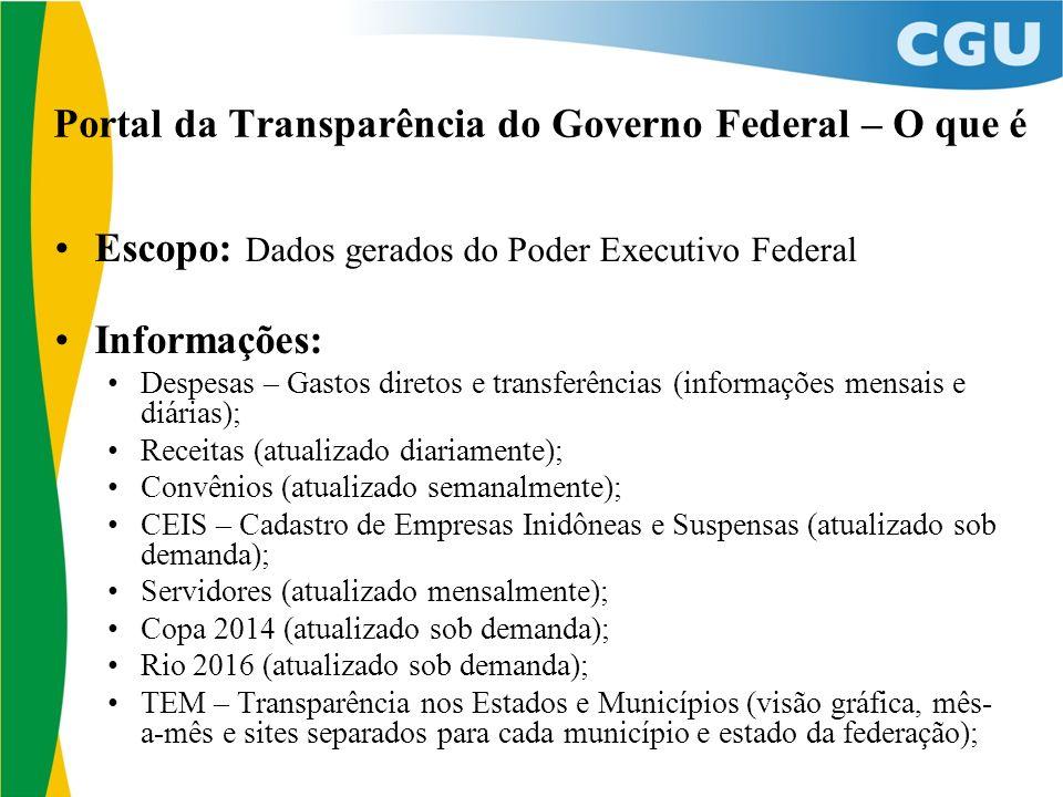 Portal da Transparência do Governo Federal – O que é Escopo: Dados gerados do Poder Executivo Federal Informações: Despesas – Gastos diretos e transfe