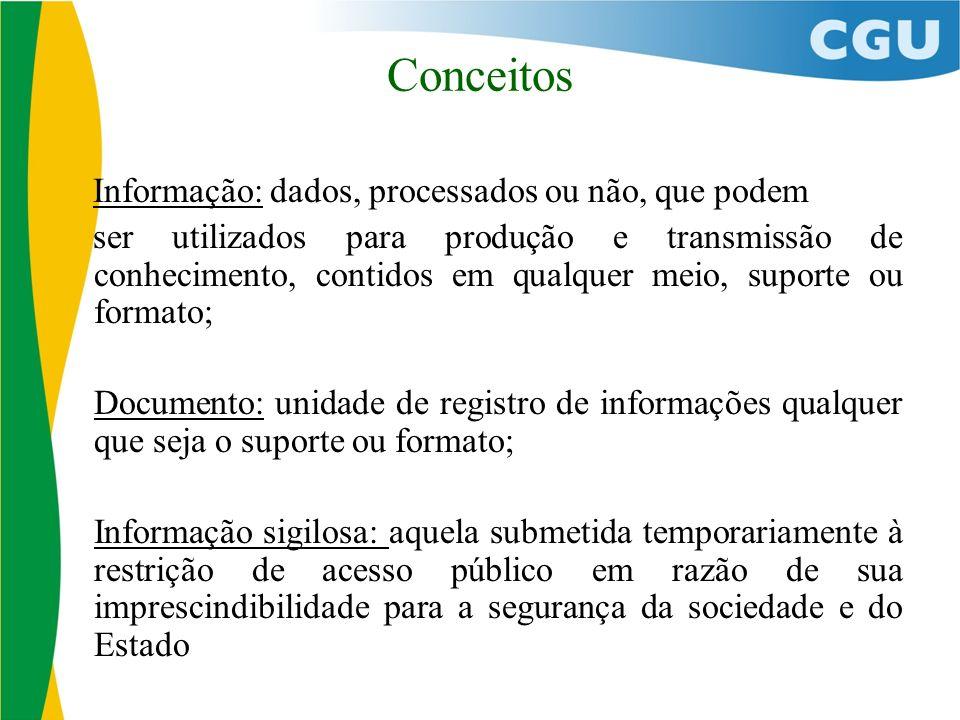 Conceitos Informação: dados, processados ou não, que podem ser utilizados para produção e transmissão de conhecimento, contidos em qualquer meio, supo