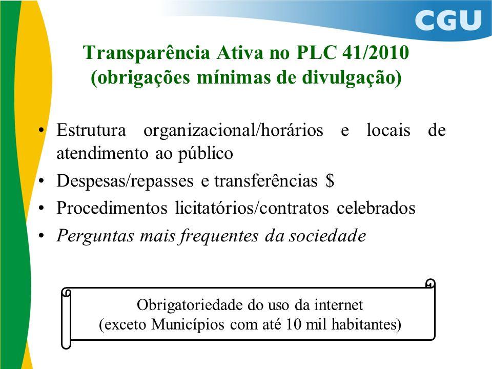 Transparência Ativa no PLC 41/2010 (obrigações mínimas de divulgação) Estrutura organizacional/horários e locais de atendimento ao público Despesas/re