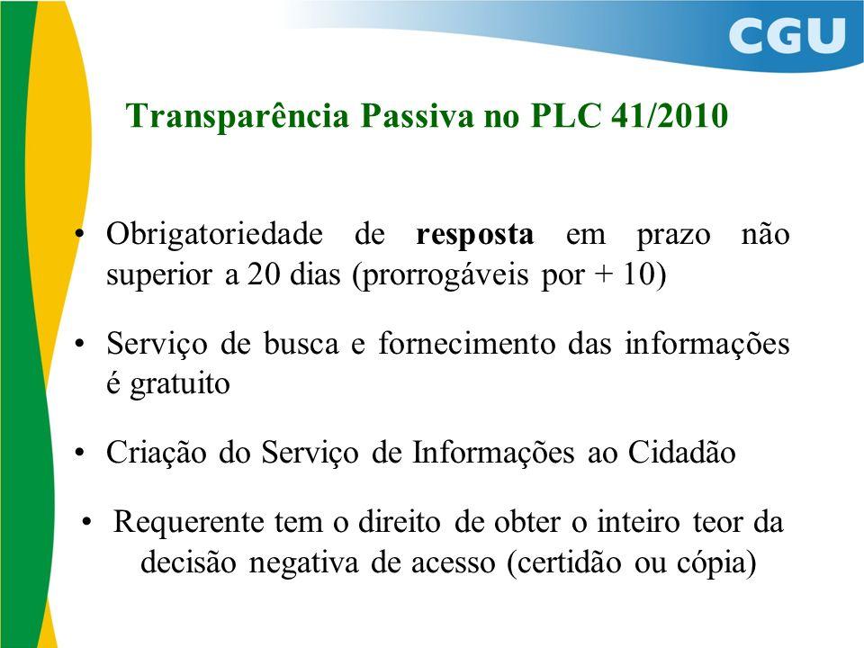Transparência Passiva no PLC 41/2010 Obrigatoriedade de resposta em prazo não superior a 20 dias (prorrogáveis por + 10) Serviço de busca e fornecimen