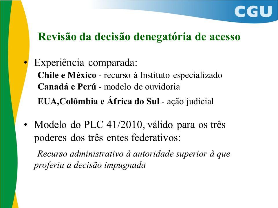 Revisão da decisão denegatória de acesso Experiência comparada: Chile e México - recurso à Instituto especializado Canadá e Perú - modelo de ouvidoria