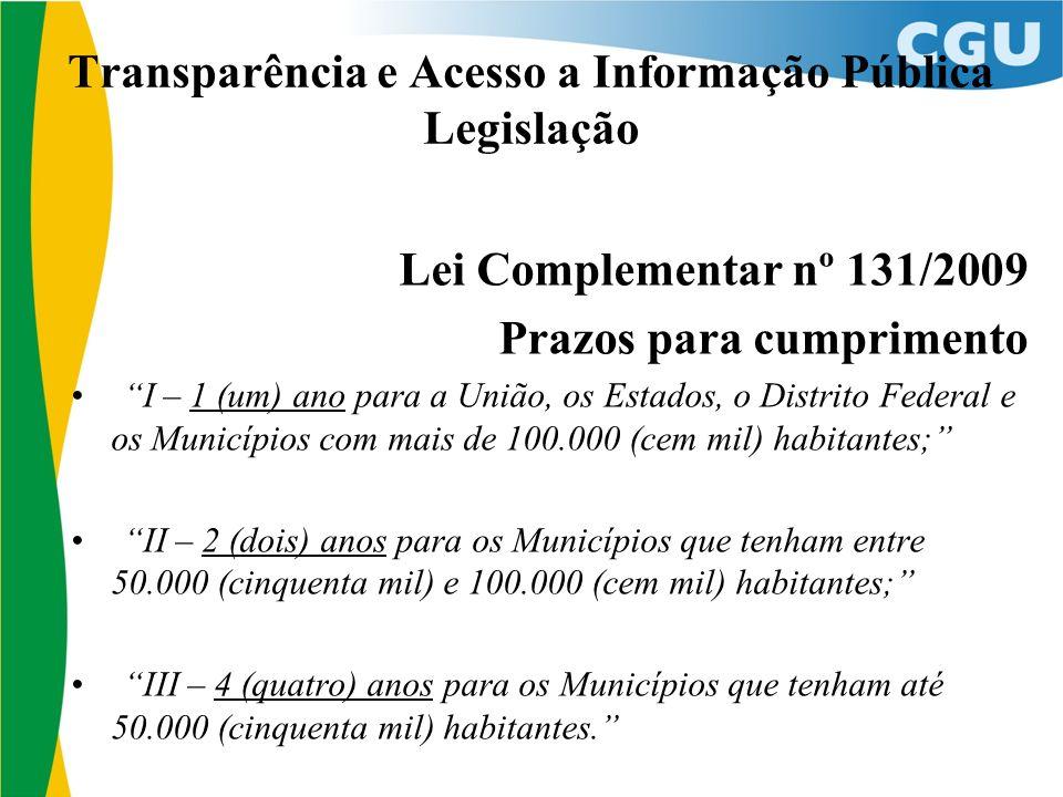 Transparência e Acesso a Informação Pública Legislação Lei Complementar nº 131/2009 Prazos para cumprimento I – 1 (um) ano para a União, os Estados, o