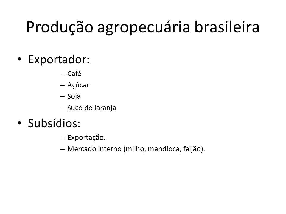 Produção agropecuária brasileira Exportador: – Café – Açúcar – Soja – Suco de laranja Subsídios: – Exportação. – Mercado interno (milho, mandioca, fei