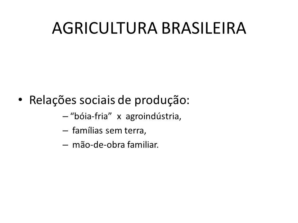 AGRICULTURA BRASILEIRA Relações sociais de produção: – bóia-fria x agroindústria, – famílias sem terra, – mão-de-obra familiar.