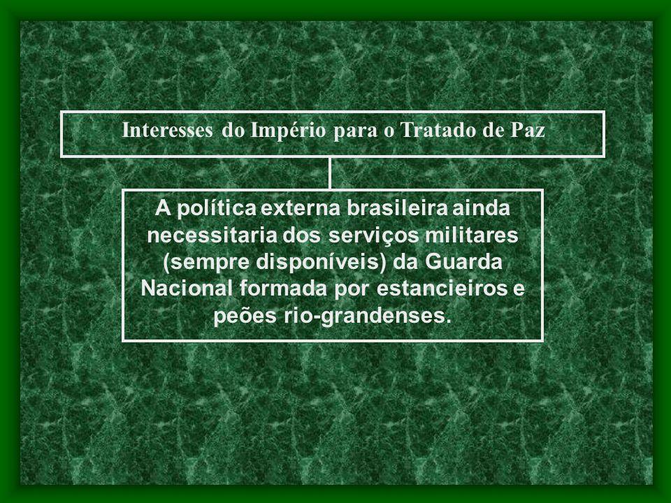 Interesses do Império para o Tratado de Paz A política externa brasileira ainda necessitaria dos serviços militares (sempre disponíveis) da Guarda Nac