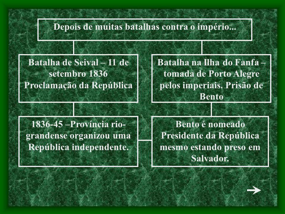 Batalha de Seival – 11 de setembro 1836 Proclamação da República Batalha na Ilha do Fanfa – tomada de Porto Alegre pelos imperiais. Prisão de Bento Be