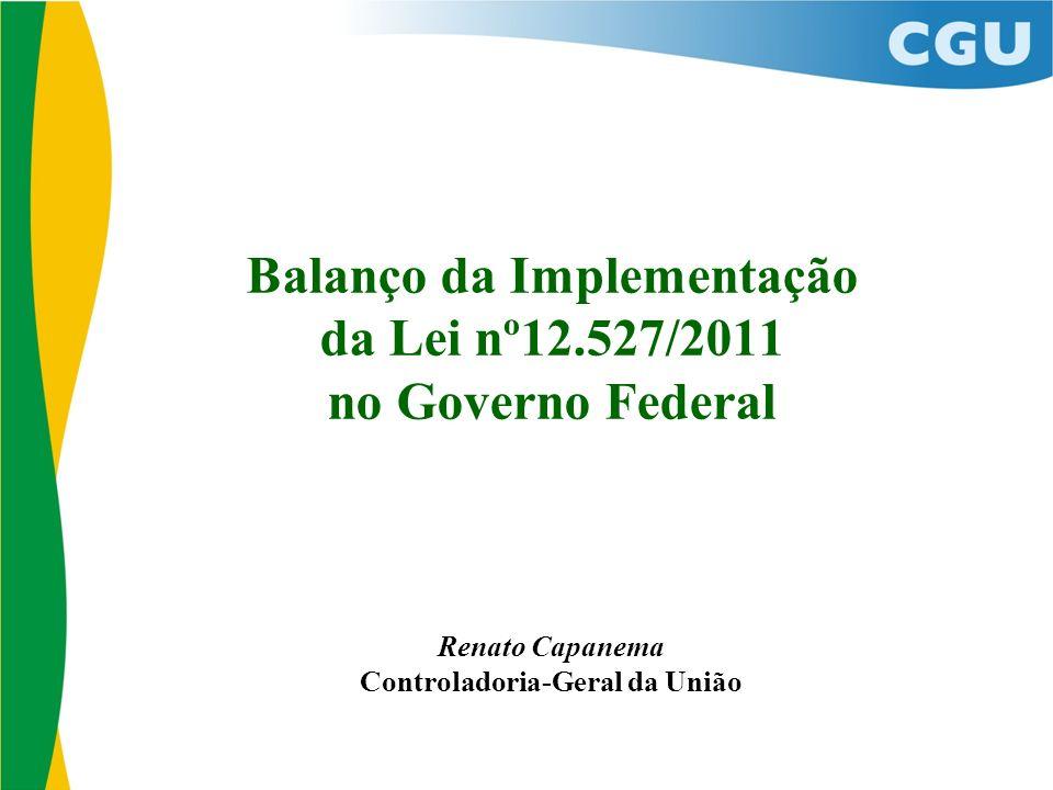 Balanço da Implementação da Lei nº12.527/2011 no Governo Federal Renato Capanema Controladoria-Geral da União