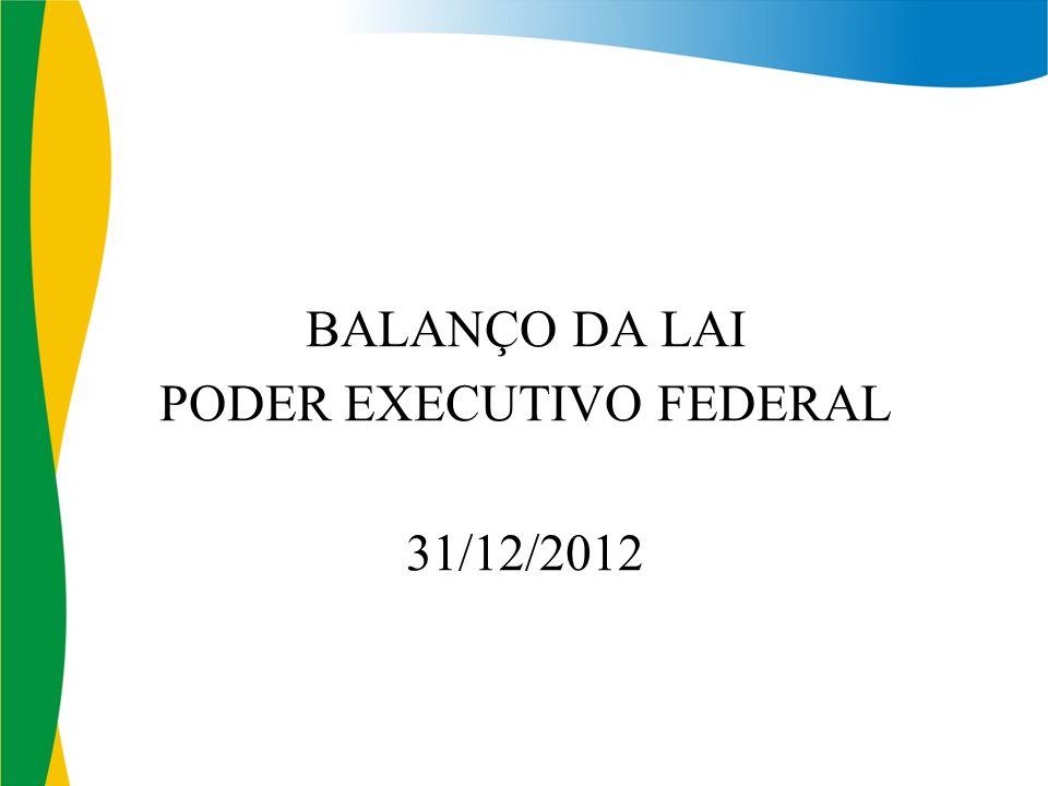 BALANÇO DA LAI PODER EXECUTIVO FEDERAL 31/12/2012