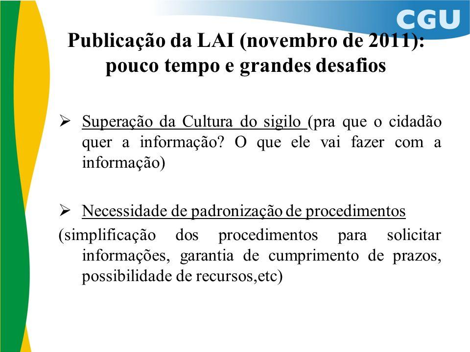 Publicação da LAI (novembro de 2011): pouco tempo e grandes desafios Superação da Cultura do sigilo (pra que o cidadão quer a informação.