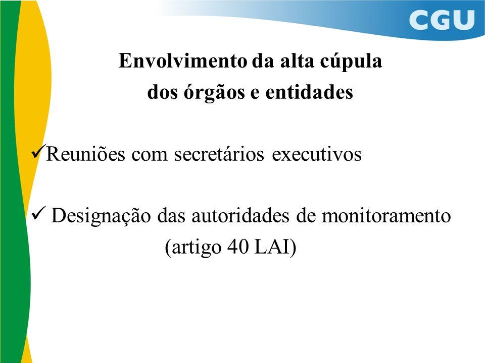 Envolvimento da alta cúpula dos órgãos e entidades Reuniões com secretários executivos Designação das autoridades de monitoramento (artigo 40 LAI)