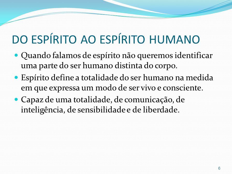 DO ESPÍRITO AO ESPÍRITO HUMANO Quando falamos de espírito não queremos identificar uma parte do ser humano distinta do corpo. Espírito define a totali