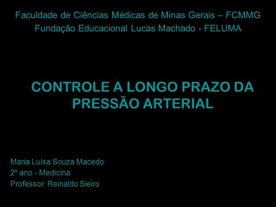 CONTROLE A LONGO PRAZO DA PRESSÃO ARTERIAL Maria Luísa Souza Macedo 2º ano - Medicina Professor: Reinaldo Sieiro Faculdade de Ciências Médicas de Mina