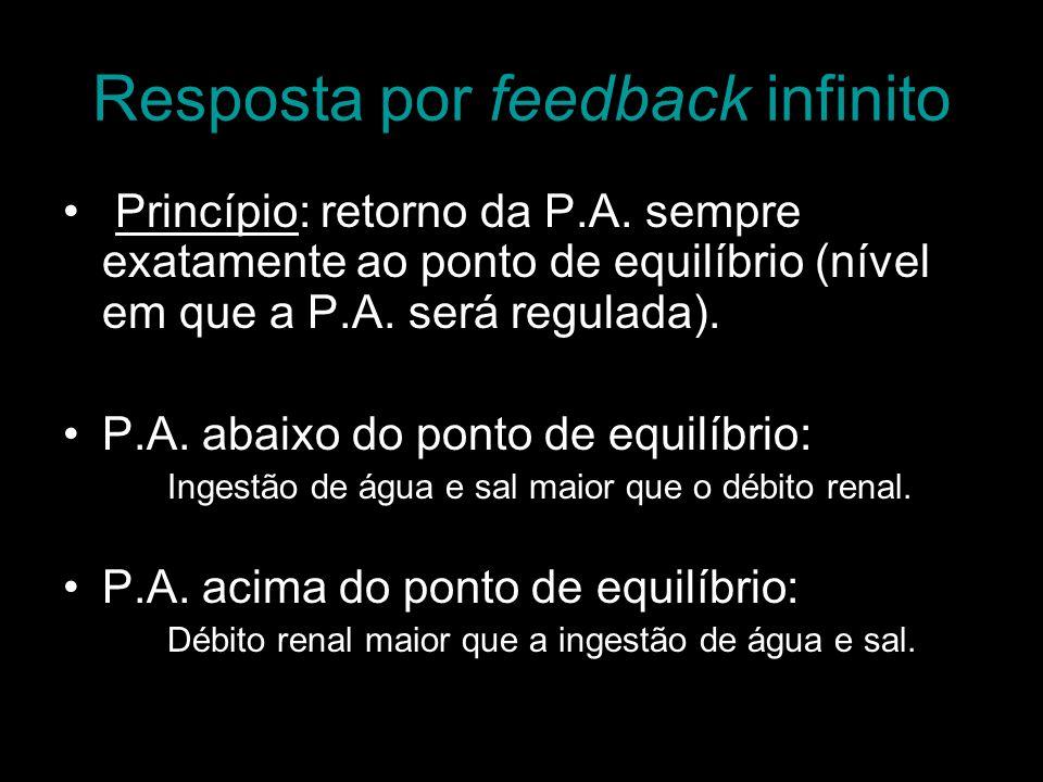 Resposta por feedback infinito Princípio: retorno da P.A. sempre exatamente ao ponto de equilíbrio (nível em que a P.A. será regulada). P.A. abaixo do