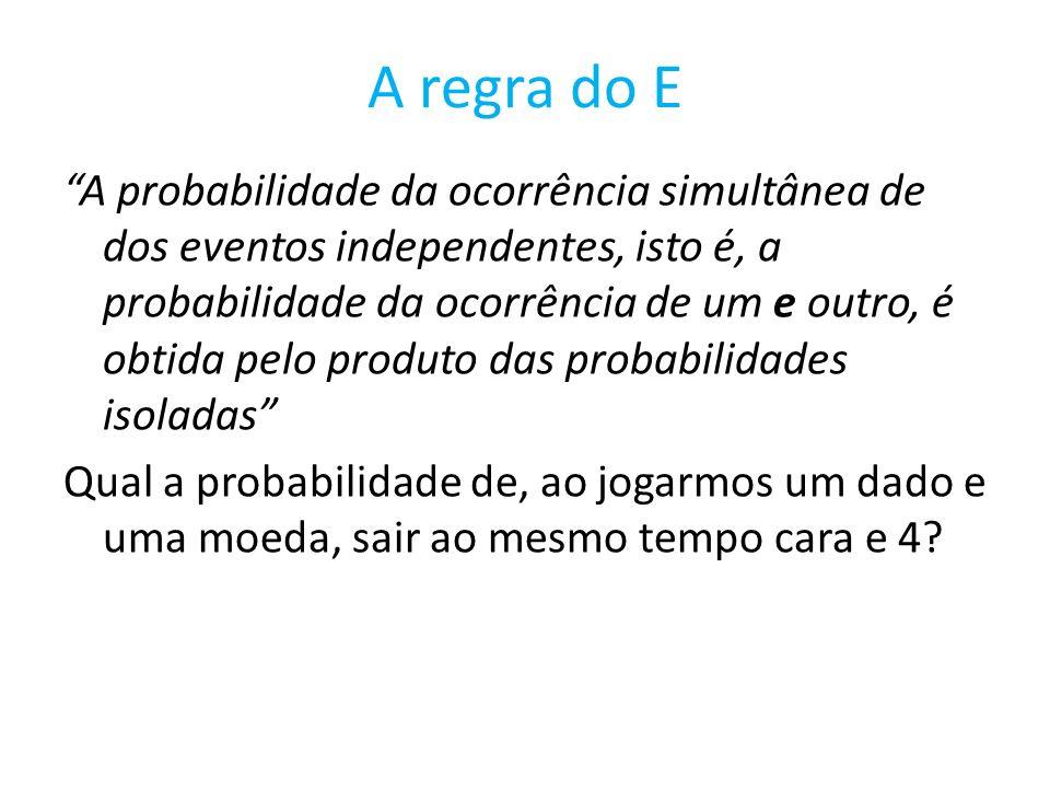 A regra do E A probabilidade da ocorrência simultânea de dos eventos independentes, isto é, a probabilidade da ocorrência de um e outro, é obtida pelo