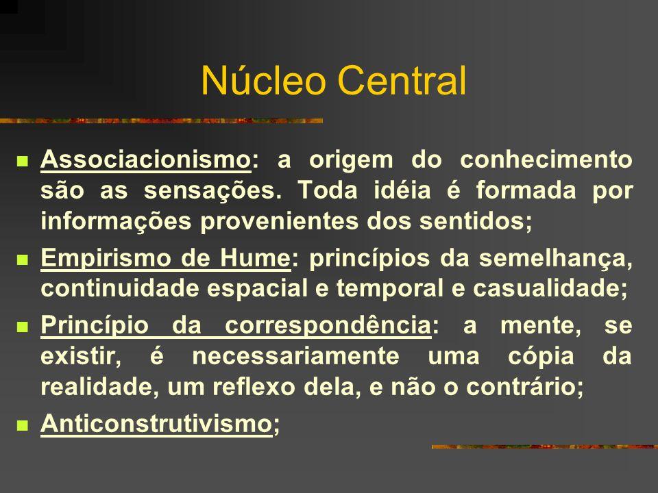 Núcleo Central Associacionismo: a origem do conhecimento são as sensações. Toda idéia é formada por informações provenientes dos sentidos; Empirismo d