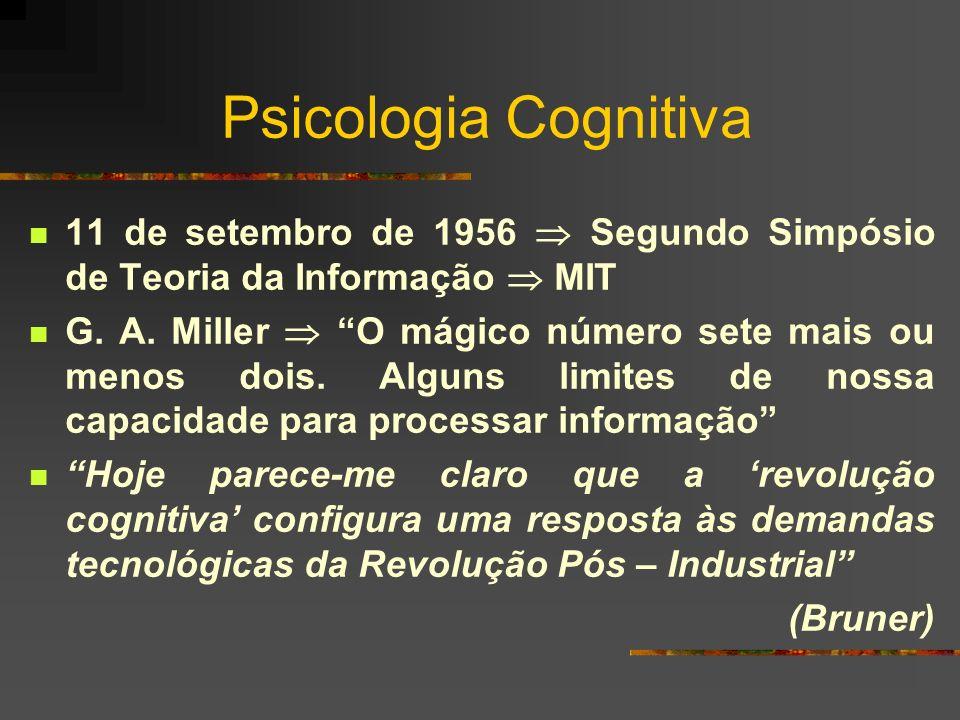 Psicologia Cognitiva 11 de setembro de 1956 Segundo Simpósio de Teoria da Informação MIT G. A. Miller O mágico número sete mais ou menos dois. Alguns