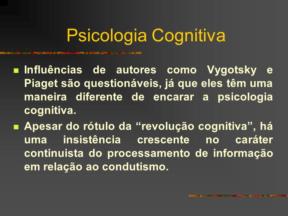 Psicologia Cognitiva Influências de autores como Vygotsky e Piaget são questionáveis, já que eles têm uma maneira diferente de encarar a psicologia co